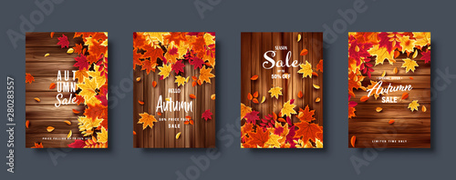 Fototapeta Autumn falling leaves. Banner set. Nature background with red, orange, yellow foliage. Flying leaf. Season sale. Vector illustration. obraz