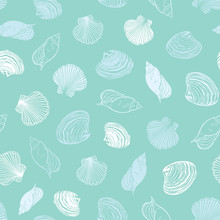Vector Pastel Light Blue Seashells Paradise Repeat Pattern. Suitable For Gift Wrap, Textile And Wallpaper.
