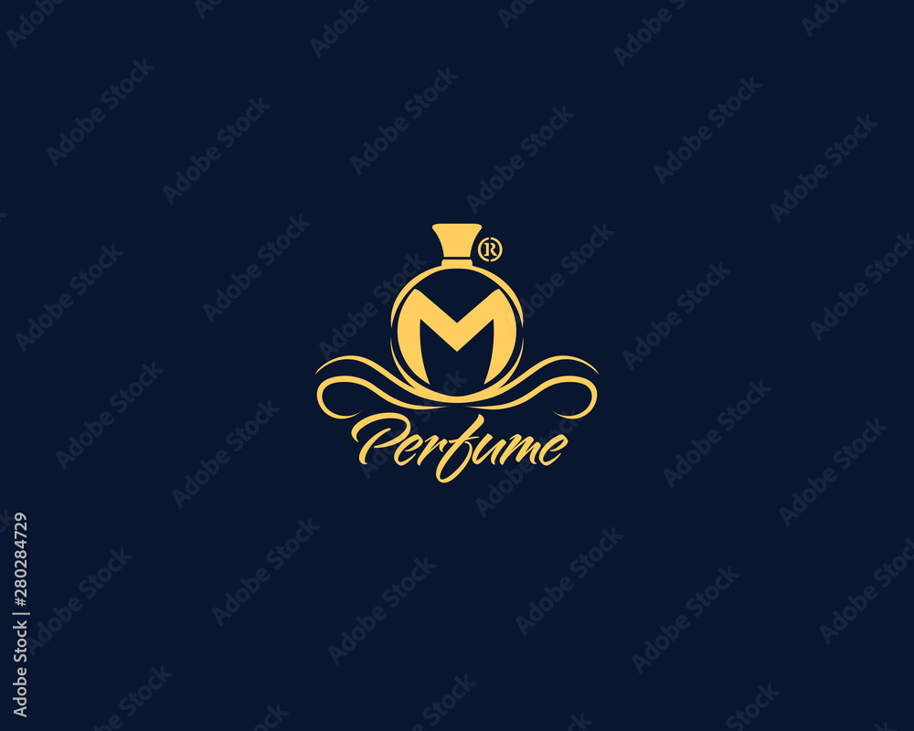 Fototapety, obrazy: Elegant Luxury perfum logo design letter M gold with a dark background for your perfume company, parfumerie and more business like cosmetics boutique, beauty, floral,.eps