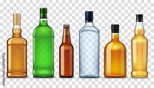 Fotografia Alcohol drinks in bottles, isolated high spirits