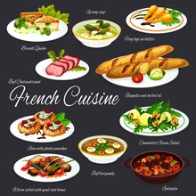 French Dishes Of Meat And Vegetables With Baguette