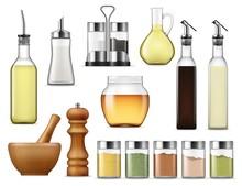 Seasonings And Dressings Salt Pepper Glass Bottles