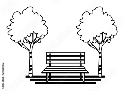 Incredible Park With Bench And Trees Cartoon In Black And White Buy Machost Co Dining Chair Design Ideas Machostcouk