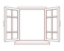 House Window Open Cartoon Isolated In Black And White