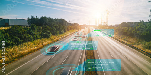 Smart car (HUD) , Autonomous self-driving mode vehicle on highway road iot concept with graphic sensor radar signal system