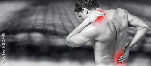 Obraz na plátně Strong man with neck pain, back view