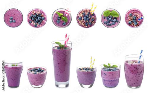 Fotografía Glasses of delicious blueberry smoothie on white background