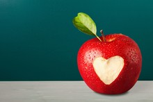 Red Apple With A Heart Shaped