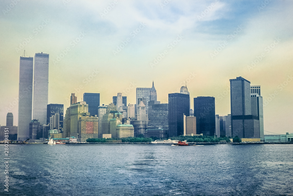 Fototapety, obrazy: Archival and historical cityscape of New York skyline from Hudson River with World Trade Center featured as landmark of the Twin Towers. Lower Manhattan in NYC, United States.
