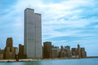 Leinwandbild Motiv Iconic World Trade Center featured as landmark of the Twin Towers from New Jersey and Hudson River. Archival vintage cityscape of New York city skyline. Manhattan in NYC, United States.