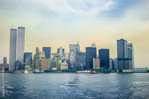 Archival and historical cityscape of New York skyline from Hudson River with World Trade Center featured as landmark of the Twin Towers Wallpaper Mural