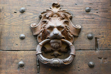 Old Metal Door Knocker As A Lion's Head On A Rustic Wooden Door In Italy