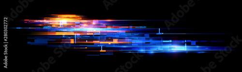 Led Light. Abstract effect. Future tech. Glare cubes. Digital cpu signal. .Shine grid. Modern big data. Neon flare. Quantum computer net system. .Magic code. Grid HUD lines. Web device. Blocks system. - 280302772