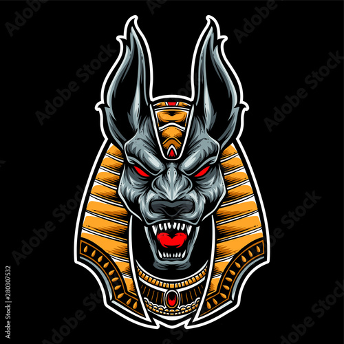 anubis head scream vector Wallpaper Mural