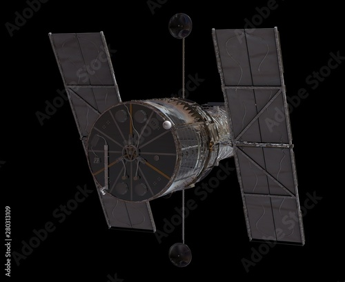 Space Telescope Isolated on Black Background 3D illustration Canvas Print