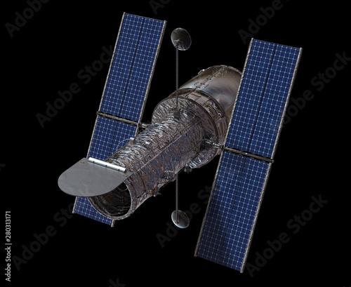 Fotografie, Tablou  Space Telescope Isolated on Black Background 3D illustration