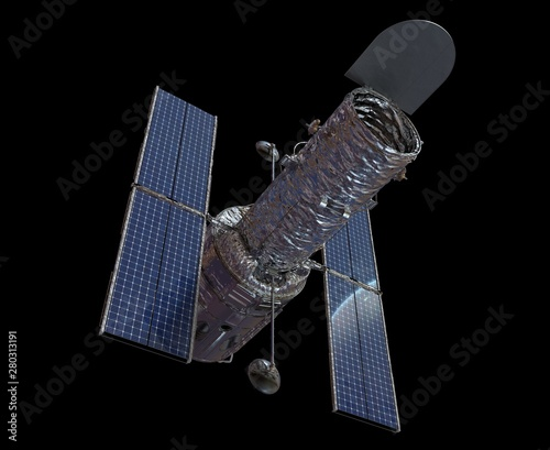 Photo Space Telescope Isolated on Black Background 3D illustration