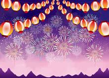 花火 8月 お祭り 提灯 花火大会 スターマイン 夏 8月 真夏 夜 夜空 花火 水彩 背景 背景素材 山