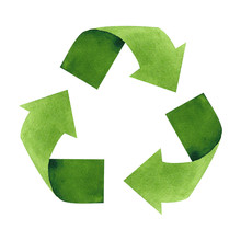 Watercolor Recycling Sign Isolated On White Background. Hand Drawn Reuse Symbol For Ecological Design. Zero Waste Lifestyle.