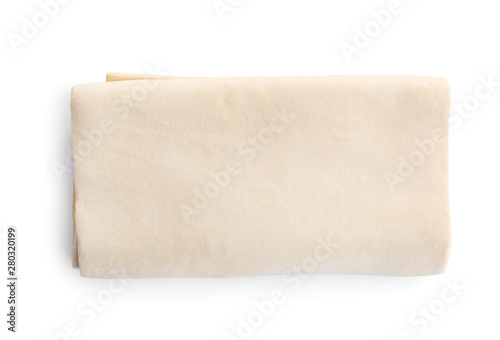 Valokuvatapetti Fresh dough on white background, top view. Puff pastry