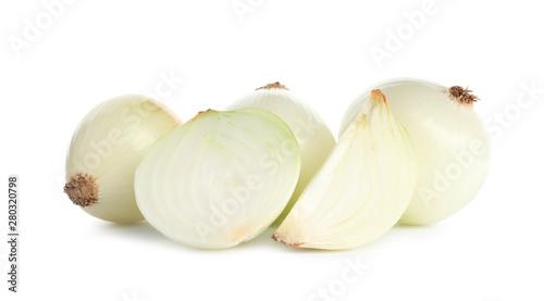 Pinturas sobre lienzo  Fresh peeled onion bulbs on white background