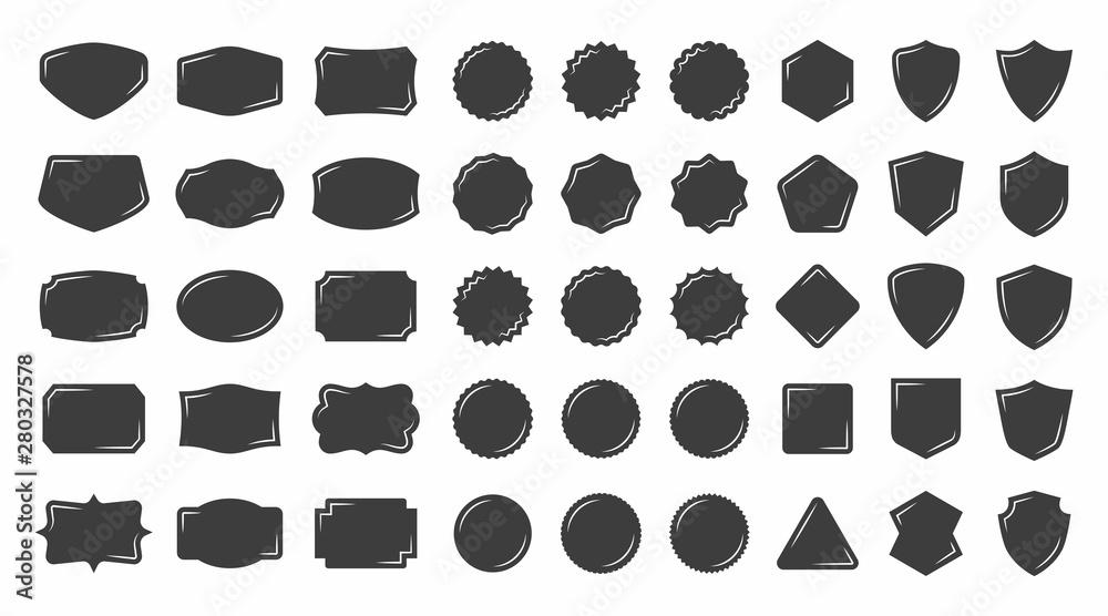 Fototapeta Set of vintage shape badge vector silhouette