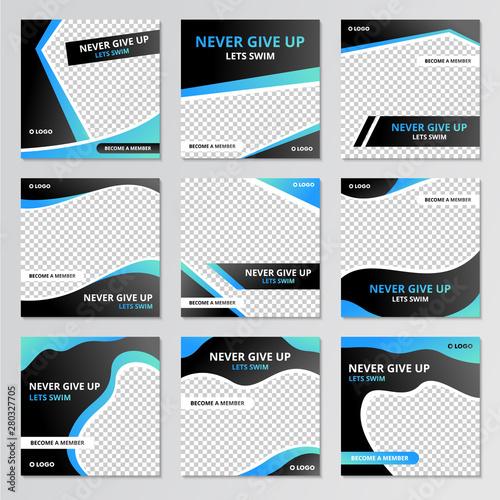 Collection of social media post sport design template Fototapeta