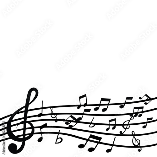 Movement treble clef and music note on line wave  © kritkanok