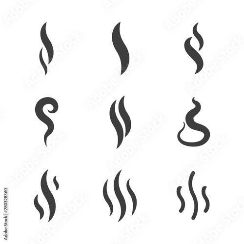 Fotomural  Aroma and smoke icons vector silhouettes