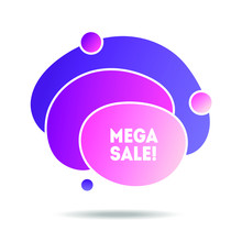 Purple Sale Banner. Flat Geometric Liquid Form For The Design Of A Logo, Flyer Or Presentation.
