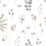 Seamless floral pattern with wildflowers blue and brown colors in vintage watercolor style. Vector gentle texture on white background. - 280331944
