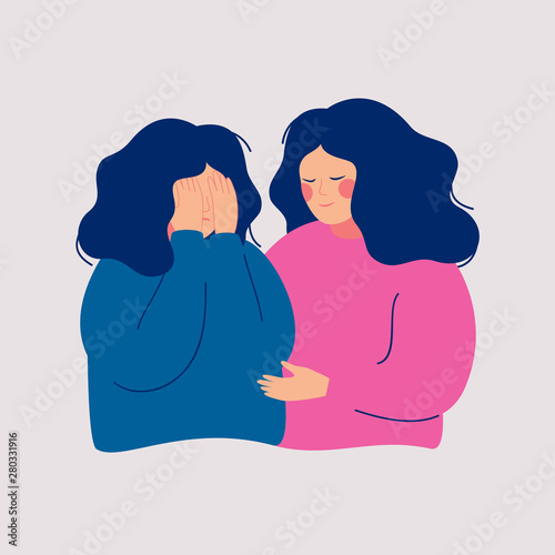 Stampa su Tela Young woman comforting her crying best friend