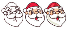 Happy Cartoon Santa Claus Head Set. Merry Christmas - Vector