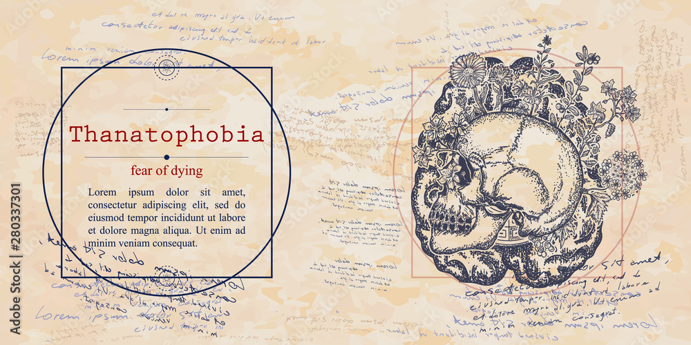 Fototapeta Thanatophobia. Fear of dying phobia. Human skull and brain. Psychological vector illustration. Psychotherapy and psychiatry. Medieval medicine manuscript