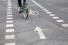 Bike Lane Symbol On Street; Frankfurt