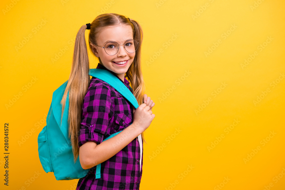 Fototapety, obrazy: Profile photo of little lady return classroom wear specs new bag checkered shirt jeans denim isolated yellow background