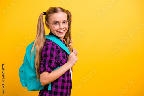 Fotografie, Obraz  Profile photo of little lady return classroom wear specs new bag checkered shirt