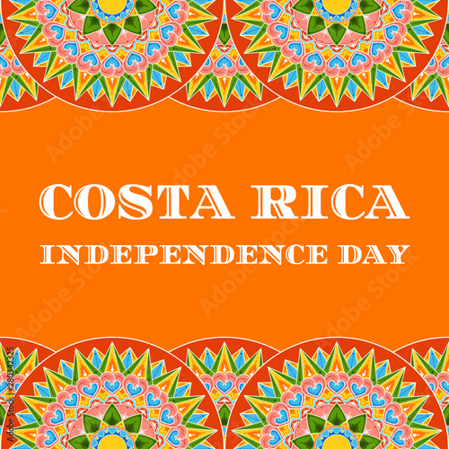 Costa Rica Independence Day, 15 September, illustration vector Canvas Print