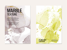 Marble Card Presentation, Invitation Card. Business Flyer Template Design. Soft Yellow And Grey Contrast Tender Decoration Isolated On White  Background, Vintage Style Decoration 2019