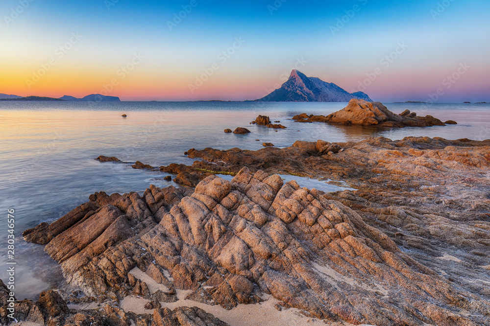 Fototapety, obrazy: Fantastic azure water with rocks near beach Porto Taverna at sunset