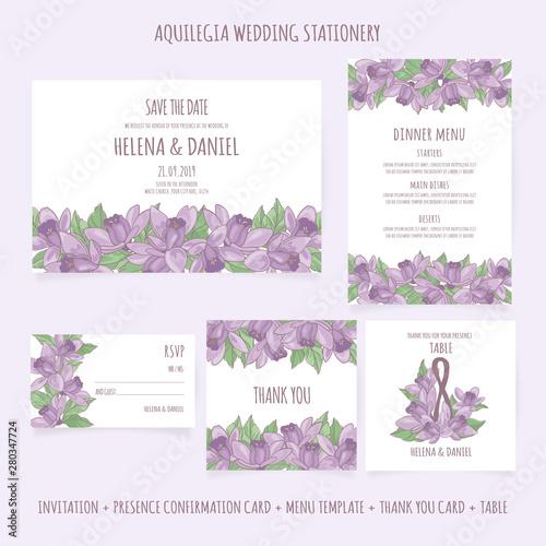 AQUILEGIA WEDDING STATIONERY Floral Design Presence Template Vector Illustration Wallpaper Mural