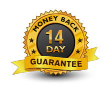 Strong And Powerful Golden 14 Day Money Back Guarantee Badge, Sign, Seal, Stamp, Label With Ribbon Isolated On White Background.