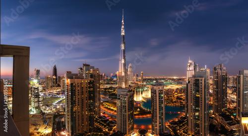 Fotografie, Obraz  Dubai downtown after sunset panorama