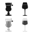 Vector design of liquor and restaurant icon. Collection of liquor and ingredient stock symbol for web.