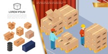 Isometric Packaging And Delivery Concept