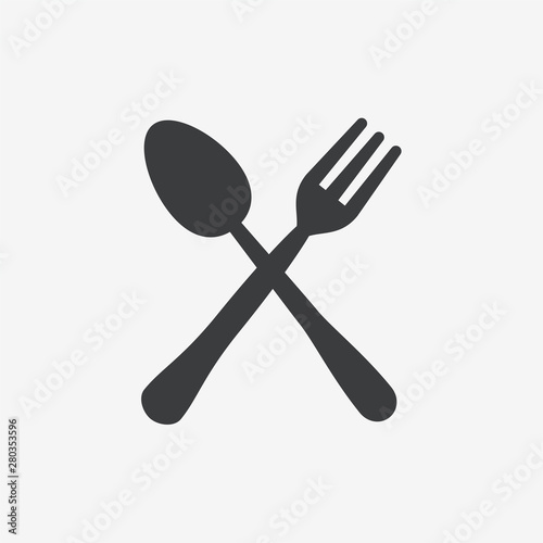 Obraz na plátně  Fork & Spoon Flat Vector Icon