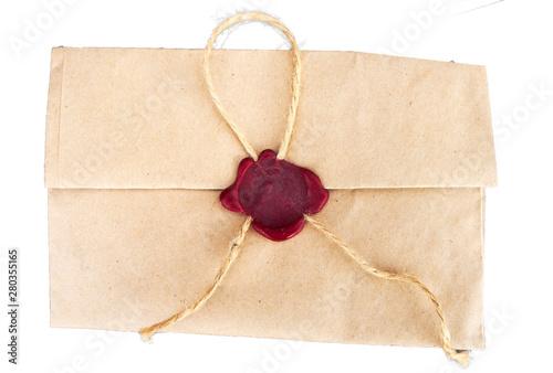 Fotografía Retro envelope sealed with a secret seal on a white background.