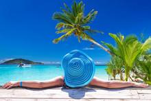 Woman In Hat At Beautiful Caribbean Sea, Mexico