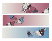 Ink Butterflies Banners Retro Blue Brown
