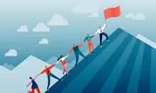 People Climb The Mountain. Success, Business, Career, Teamwork, Leadership